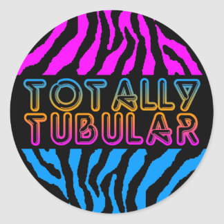 Corey Tiger 1980'S Retro Totally Tubular Stripes Classic Round Sticker