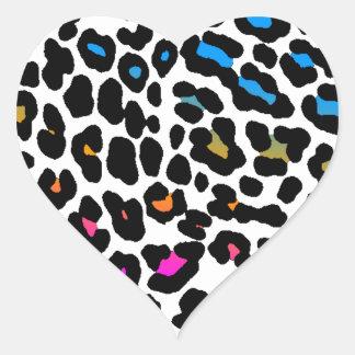 Corey Tiger 80s Leopard Spots White Heart Stickers