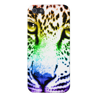 Corey Tiger 80s Neon Leopard Face (Rainbow) Cover For iPhone 5/5S