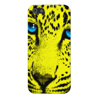 Corey Tiger 80s Neon Leopard Face (Yellow) iPhone 5 Cases