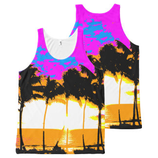 Corey Tiger 80s Palm Trees Beach All-Over Print Singlet