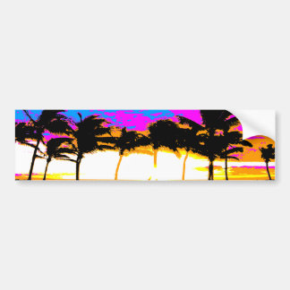 Corey Tiger 80s Palm Trees Sunset Bumper Sticker