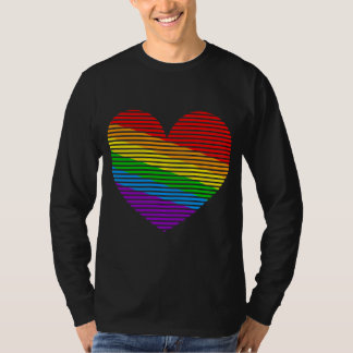 Corey Tiger 80s Rainbow Stripe Heart Long Sleeve T-Shirt