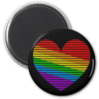 Corey Tiger 80s Rainbow Stripe Heart Magnet