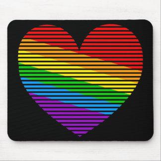 Corey Tiger 80s Rainbow Stripe Heart Mousepad