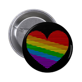 Corey Tiger 80s Rainbow Stripe Heart Pin