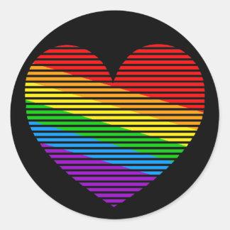 Corey Tiger 80s Rainbow Stripe Heart Stickers