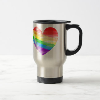 Corey Tiger 80s Rainbow Stripe Heart Travel Mug