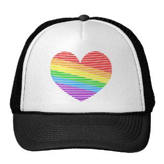 Corey Tiger 80s Rainbow Stripe Heart Trucker Hat