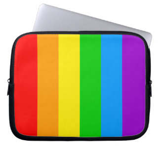 Corey Tiger 80s Rainbow Stripes Flag Laptop Computer Sleeves