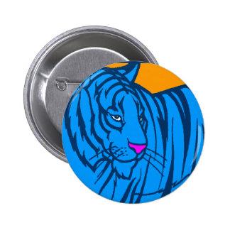 COREY TIGER 80s RETRO BLUE JUNGLE TIGER 6 Cm Round Badge