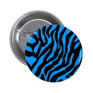 COREY TIGER 80s RETRO BLUE TIGER STRIPES Button