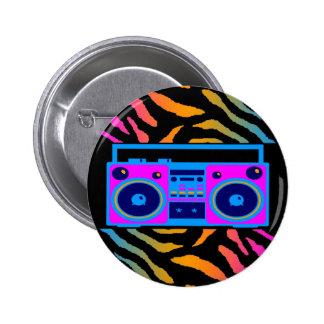 COREY TIGER 80s RETRO BOOMBOX TIGER STRIPES 6 Cm Round Badge