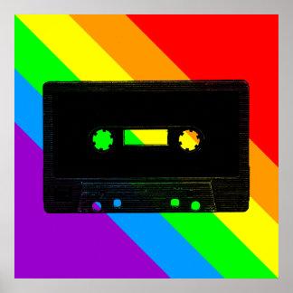 Corey Tiger 80s Retro Cassette Tape Rainbow Poster