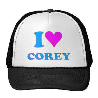 COREY TIGER 80's Retro I LOVE COREY Trucker Hats