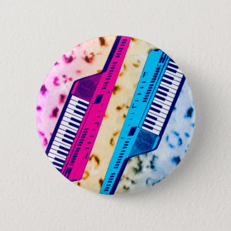 Corey Tiger 80's Retro Keytar Neon Snow Leopard 6 Cm Round Badge