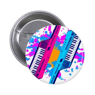Corey Tiger 80's Retro Keytar Neon Splatter 6 Cm Round Badge