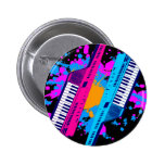 Corey Tiger 80's Retro Keytar Neon Splatter Pin