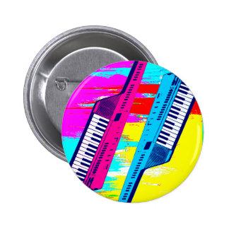 Corey Tiger 80's Retro Keytar Paint Drip 6 Cm Round Badge