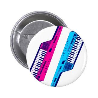 Corey Tiger 80's Retro Keytar Pink & Blue 6 Cm Round Badge