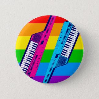 Corey Tiger 80's Retro Keytar Rainbow 6 Cm Round Badge