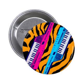Corey Tiger 80's Retro Keytar Tiger Print 6 Cm Round Badge