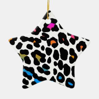 Corey Tiger 80s Retro Leopard Print Star Ornament