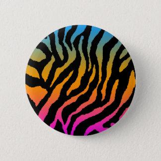 COREY TIGER 80s RETRO MULTICOLOUR TIGER STRIPES 6 Cm Round Badge