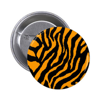 COREY TIGER 80s RETRO ORANGE TIGER STRIPES Buttons