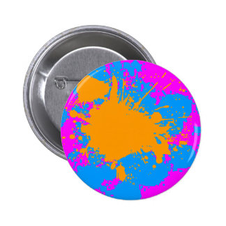 Corey Tiger 80s Retro Paint Splatter (Multicolor) 6 Cm Round Badge