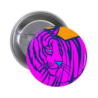 COREY TIGER 80s RETRO PINK JUNGLE TIGER 6 Cm Round Badge