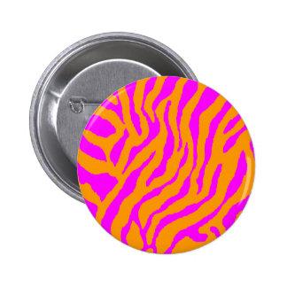 COREY TIGER 80s RETRO PINK ORANGE TIGER STRIPES Pin