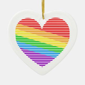 Corey Tiger 80s Retro Rainbow Stripe Heart Ceramic Heart Decoration