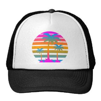 Corey Tiger 80s Retro Sunset Palm Trees Mesh Hat