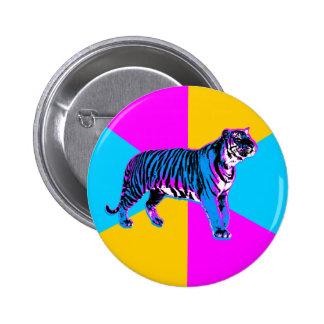 Corey Tiger 80s Retro Tiger & Neon Wedges 6 Cm Round Badge
