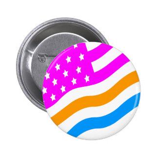 COREY TIGER 80s RETRO USA FLAG MULTICOLOUR WHITE 6 Cm Round Badge