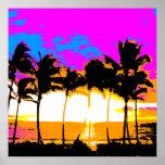 Corey Tiger 80s Retro Vintage Palm Trees Sunset Print