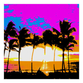 Corey Tiger 80s Retro Vintage Palm Trees Sunset Poster
