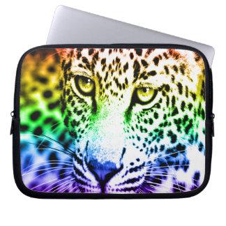 Corey Tiger 80s Snow Leopard Rainbow Computer Sleeve