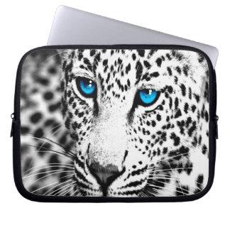 Corey Tiger 80s Snow Leopard (White) Laptop Sleeve