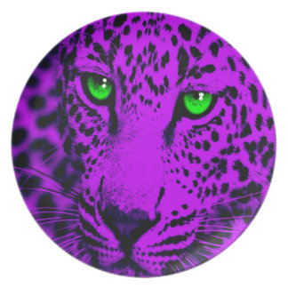 Corey Tiger 80s Style Leopard Face Dinner Plates