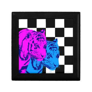 Corey Tiger 80s Twin Tigers Chequerboard Small Square Gift Box