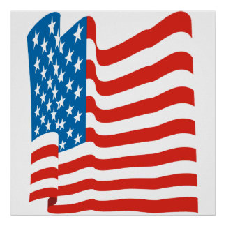 Corey Tiger 80s Vintage American Flag Poster