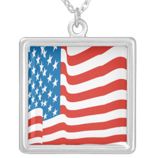 Corey Tiger 80s Vintage American Flag Silver Plated Necklace