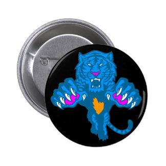 Corey Tiger 80s Vintage Fierce Pouncing Tiger 6 Cm Round Badge