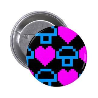 Corey Tiger 80s Vintage Gamer Hearts Mushrooms Pin