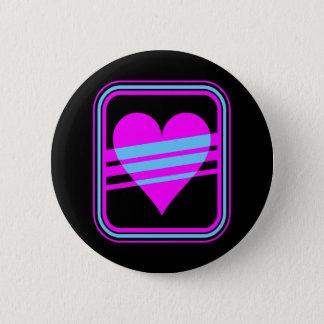 Corey Tiger 80s Vintage Heart & Stripes 6 Cm Round Badge