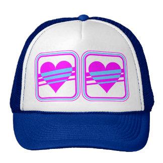 Corey Tiger 80s Vintage Heart & Stripes Hats