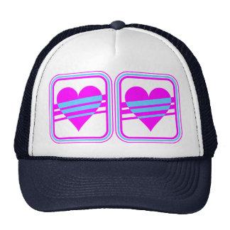 Corey Tiger 80s Vintage Heart & Stripes Mesh Hat