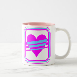 Corey Tiger 80s Vintage Heart & Stripes Coffee Mugs